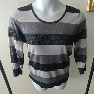 Lightweight Metallic Striped Sweater XL
